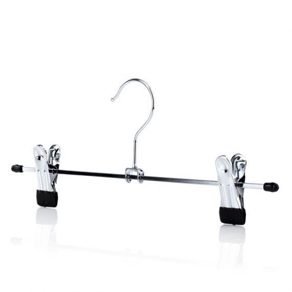 Adjustable Chrome Skirt & Trouser Clip Metal Hangers - 30cm