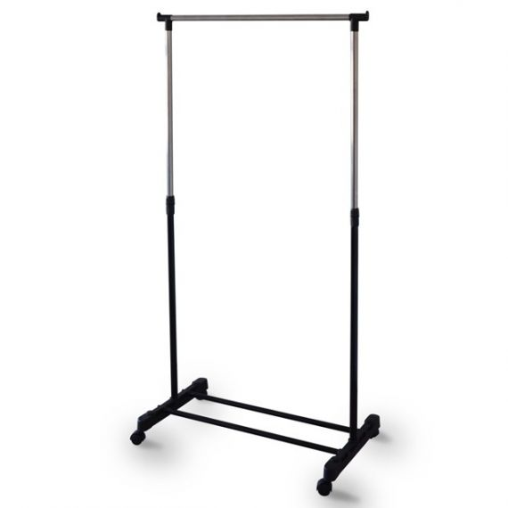 Height Adjustable Light Weight Metal Clothes Rail With Directional Wheels - 76cm