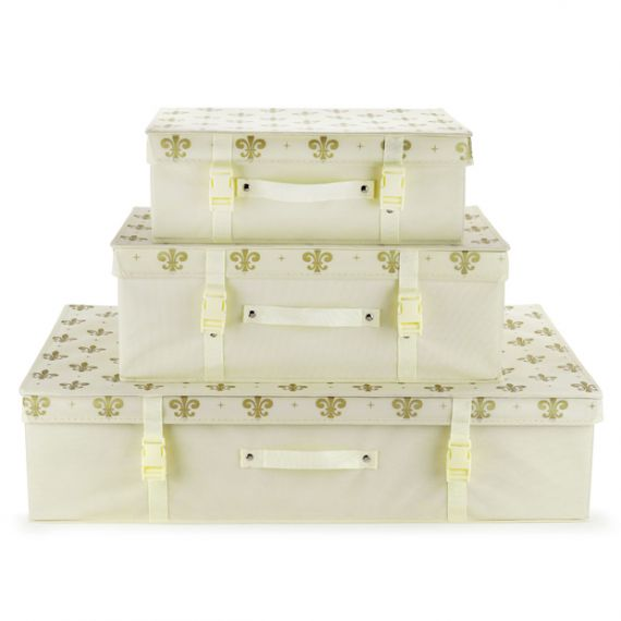 Ivory & Gold Fleur de Lis Bridal Dress Storage Box with Lid