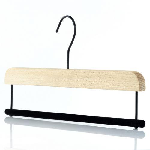 Luxury Smooth Natural Beech & Velvet Bar Hangers – 36cm