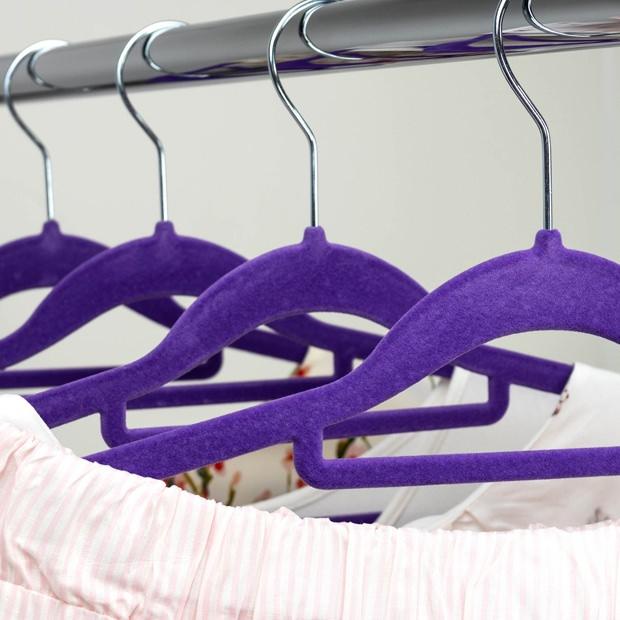 Ultra Violet Velvet Bar Hangers - 42cm