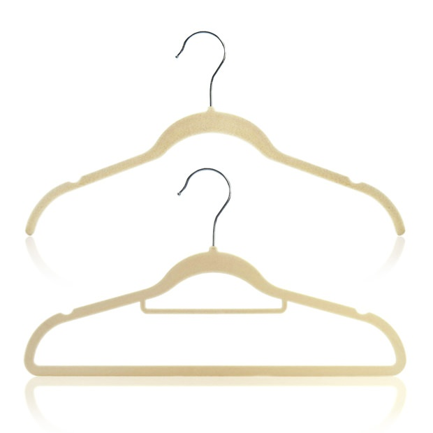 Wardrobe Set Of 20 Beige Flocked Velvet Hangers - 42cm