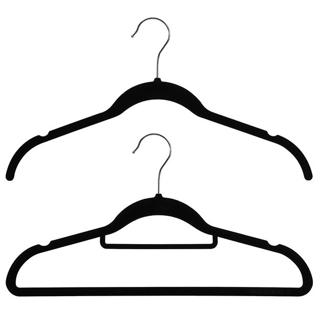 Wardrobe Set Of 20 Black Flocked Velvet Hangers - 42cm