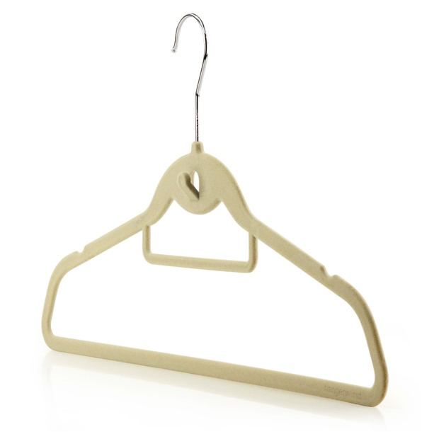 Beige Flocked Velvet Clothes Hangers - 45cm