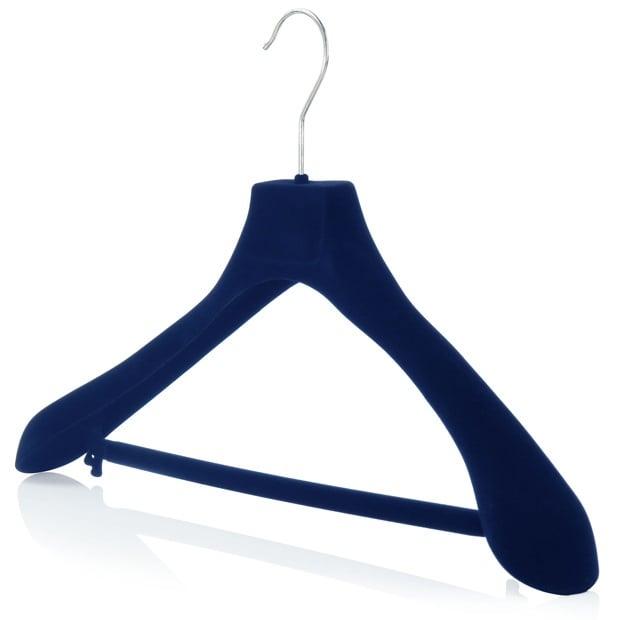 Blue Flocked Velvet Trouser Bar Hangers - 45cm