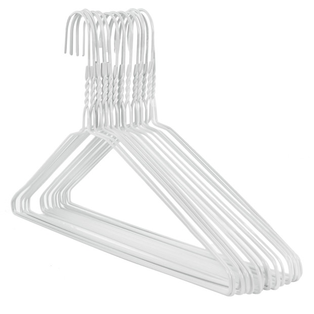 Extra Wide White Metal Hangers - 46cm