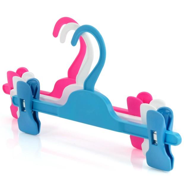 Adjustable Width Children's Coloured Plastic Clip Hangers - 28cm