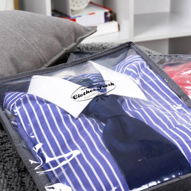 Grey Zipped Breathable Jumper Clothing Storage Bag  35cm x 30cm
