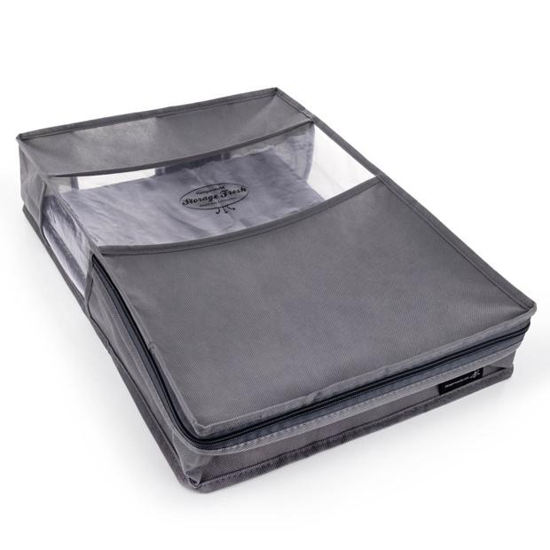 Breathable Zipped  Grey Bedding Storage Bag 48cm x 35cm
