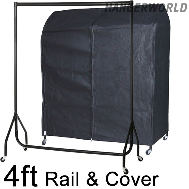 Heavy Duty Garment Rail with Black Breathable Rail Cover 4ft