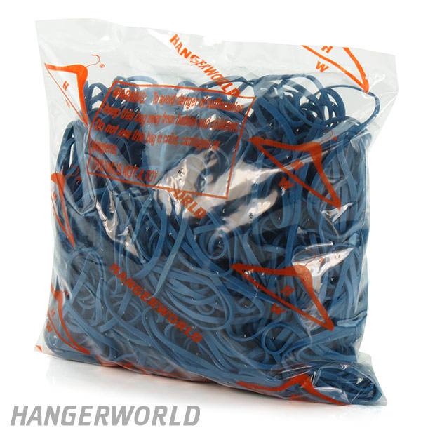 Blue Elastic Rubber Bands - 454g - 125mm x 3mm