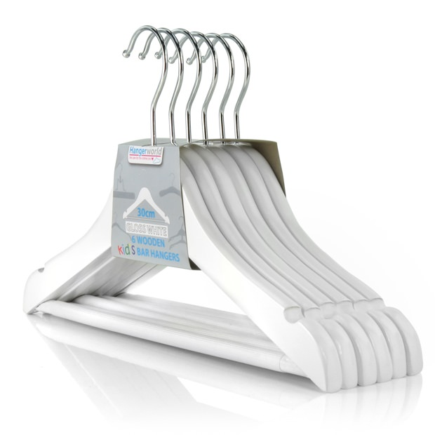 Children's White Wooden Trouser Bar Hangers - 30cm