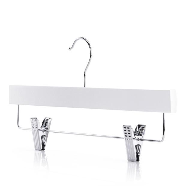 White Hardwood Straight Clip Hanger- 36cm