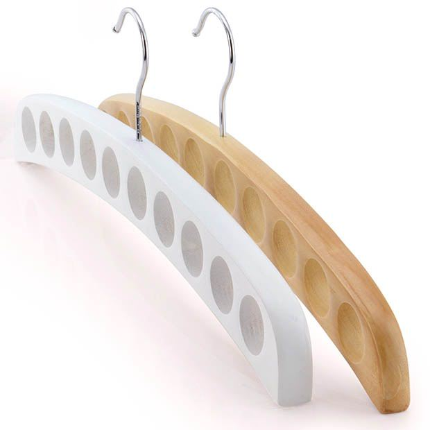 Pair Of Premium Natural & White Wooden Scarf Organiser Hangers