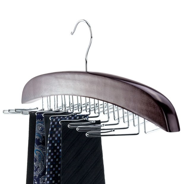 Premium Mahogany Finish Wooden Tie Hanger