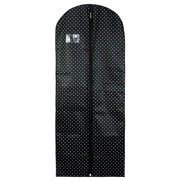 Black Breathable Dress Cover with Polka Dots-  60 Inches