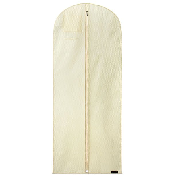Ivory Breathable Dress Cover with Embossed Rippled Design - 60inches