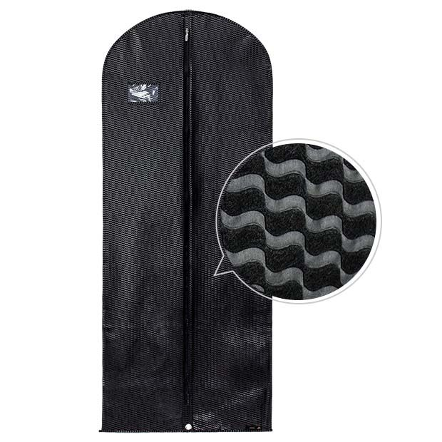 Black Breathable Dress Cover with Embossed Rippled Design - 60inches