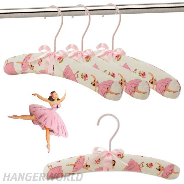 Children's Cotton Padded Hangers - Ballerina Design - 30cm