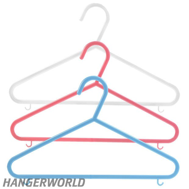Children's Coloured Plastic Clothes Hangers With Bar - 30cm