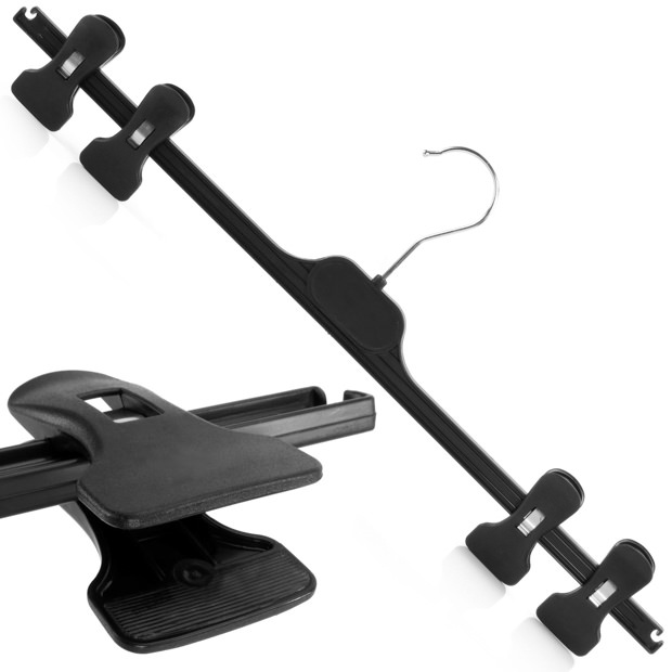 Black Plastic Four Clip Hanger  - 48cm