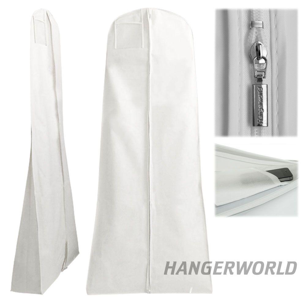 White showerproof wedding dress storage cover travel for Wedding dress travel bag